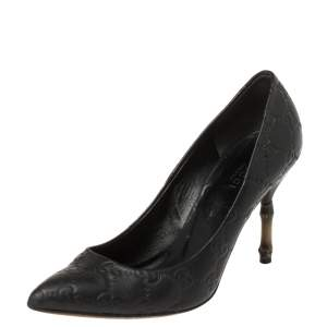 Gucci Black Guccissima Leather Kristen Bamboo Heel Pointed Toe Pumps Size 36