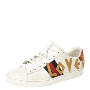Gucci White Leather Loved Embroidered Ace Sneakers Size 37.5