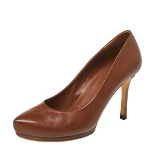 Gucci Brown Leather Pointed Toe Pumps Size 38