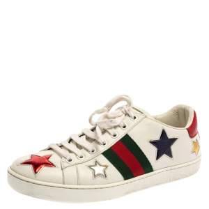 حذاء رياضى غوتشى منخفض من أعلى نجمة ويب أيس جلد أبيض مقاس 37