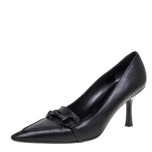 Gucci Black Leather Horsebit Pointed Toe Pumps Size 38.5