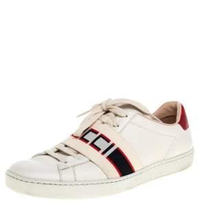 حذاء رياضى غوتشى منخفض من أعلى باند غوتشى أيس جلد أحمر / أبيض مقاس 37.5