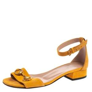 Gucci Mustard Suede Horsebit Ankle Strap Sandals Size 35.5