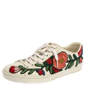 Gucci White Floral Embroidered Leather Ace Low Top Sneakers Size 40