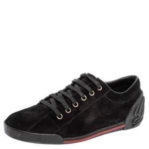 حذاء رياضى غوتشى منخفض من أعلى شعار سكريبت سويدى أسود مقاس 38