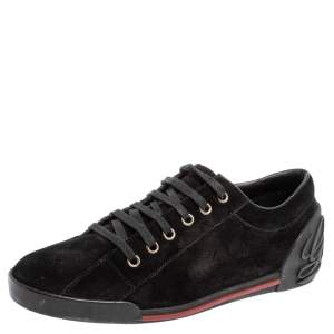 Gucci Black Suede Script Logo Low Top Sneakers Size 38