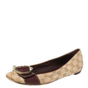 Gucci Brown Leather and GG Canvas Buckle Detail Ballet Flats Size 39