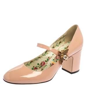 حذاء كعب عالى غوتشى مارى جين نحلة لوا جلد لامع وردى مقاس 37