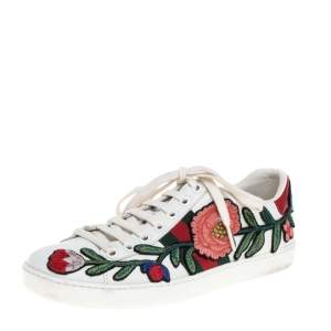 Gucci White Floral Embroidered Leather Ace Low Top Sneakers Size 35.5