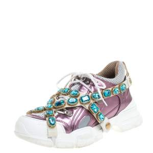 Gucci Metallic Purple Leather and Mesh Flashtrek Removable Crystals Sneakers Size 38