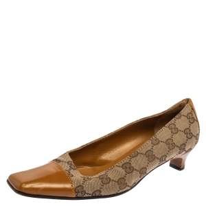 Gucci Tan/Beige GG Canvas and Leather Square Cap Toe Pumps Size 37