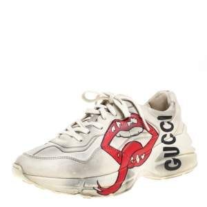 Gucci Cream/Grey Leather Rhyton Open Mouth Sneakers Size 38