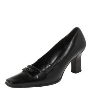 Gucci Black Leather Square Toe Pumps Size 36.5