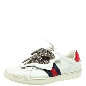 حذاء رياضى غوتشى أربطة رقعة فيونكة زخرفة أيس جلد أبيض مقاس 37