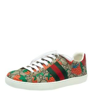 Gucci Multicolor Strawberry GG Supreme Canvas And Leather Ace Sneakers Size 34.5