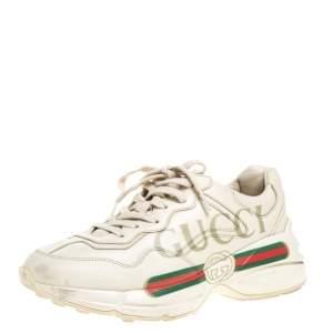 حذاء رياضى غوتشى منخفض من أعلى شعار غوتشى رايثون جلد بيج فاتح مقاس 38