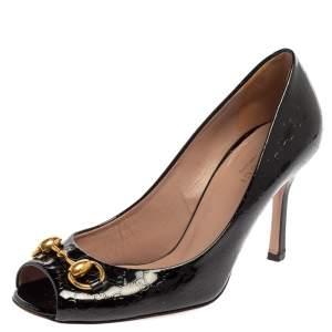 Gucci Black Guccissima Patent Leather Horsebit Peep Toe Pumps Size 36