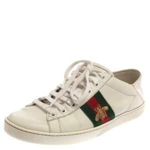 حذاء رياضى غوتشى منخفض لأعلى أيس نحلة مطرز جلد أبيض مقاس 37