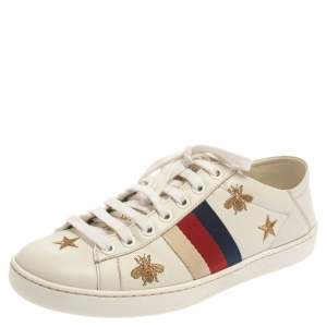 Gucci White Leather Ace Bee Star Sneakers Size 35