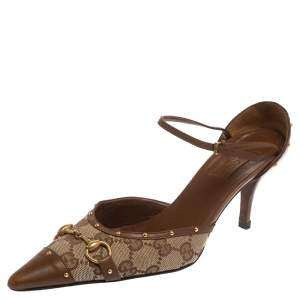 Gucci Brown GG Canvas And Leather Horsebit Studded Ankle Strap Sandals Size 37.5