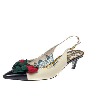 Gucci White Leather Jane Bow Slingback Sandals Size 37