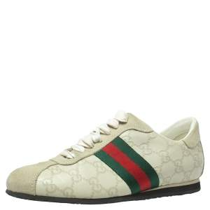 Gucci White Guccissima Leather And Suede Web Low Top Sneakers Size 37