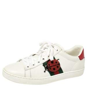Gucci White Leather Embroidered Ladybird And Pineapple Ace Sneakers Size 37