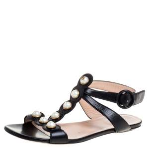 Gucci Black Leather Faux Pearl Embellished Willow T Strap Flat Sandals Size 36.5