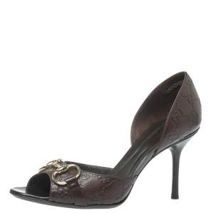 Gucci Brown Guccissima Leather Horsebit D'orsay Peep Toe Pumps Size 38.5