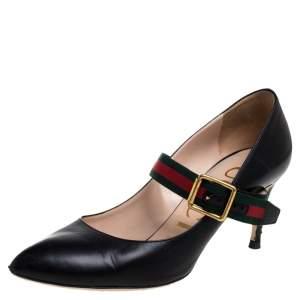 حذاء كغب غالي غوتشي سيلفي ماري جين جلد أسود مقاس 36.5