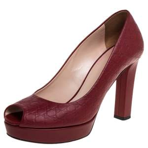 Gucci Red Microguccissima Leather Peep Toe Platform Pumps Size 37