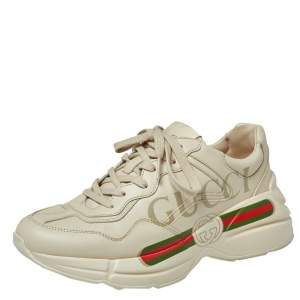 Gucci Light Off White Leather Rhyton Gucci Logo Low Top Sneakers Size 36
