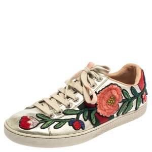 Gucci Silver Metallic Leather Ace Embroidered Low Top Sneakers Size 36.5