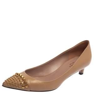 حذاء كعب عالي غوتشي مقدمة بيج مرصعة جلد بيج مقاس 37.5