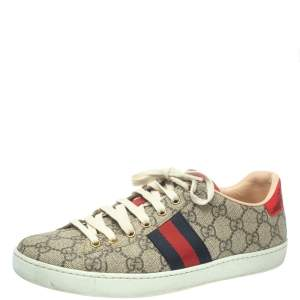 Gucci Brown Coated Canvas And Embossed Python Leather Ace Web Low Top Sneakers Size 39