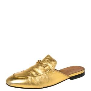 Gucci Metallic Gold Leather Horsebit Princetown Mules Size 39.5