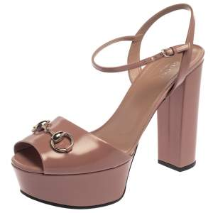 Gucci Pale Pink Leather Claudie Horsebit Peep Toe Platform Sandals Size 40
