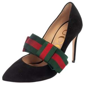 Gucci Black Suede Sylvie Removable Web Bow Pumps Size 36.5