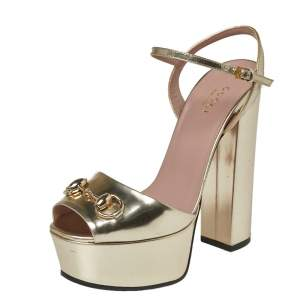 Gucci Metallic Gold Leather Claudia Horsebit Platform Sandals Size 36.5