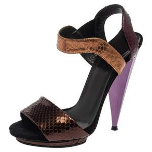 Gucci Multicolor  Python Ankle-Strap Sandals Size 35.5