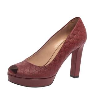 Gucci Burgundy Guccissima Leather Peep Toe Platform Pumps Size 37.5