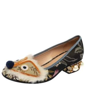Gucci Multicolor Jacquard Fabric Pearl Embellished Flats Size 37