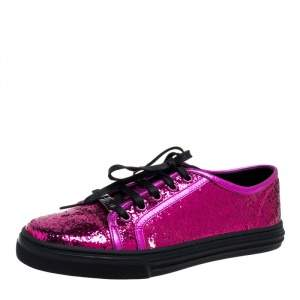 Gucci Metallic Pink Coarse Glitter And Leather Trim Low Top Sneakers Size 38