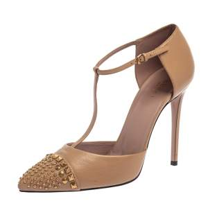 Gucci Beige Leather Coline Studded T Strap Pumps Size 41
