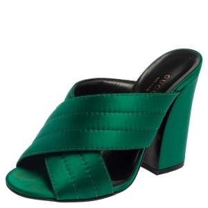 Gucci Green Satin Crisscross Mule Sandals Size 35.5