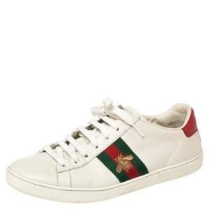 Gucci White Leather Embroidered Bee Ace Low Top Sneakers Size 38.5