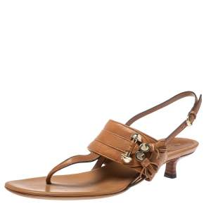Gucci Brown Leather Marrakech Kitten Heel Sandals Size 38.5