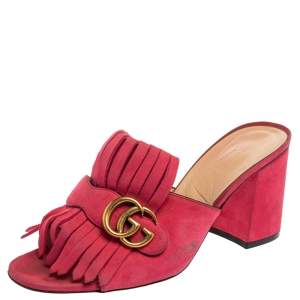 Gucci Pink Suede Leather GG Marmont Fringe Detail Open Toe Sandals Size 40