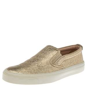 Gucci Metallic Gold Foil Leather Slip On Sneakers Size 37