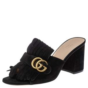 Gucci Black Suede GG Marmont Fringe Mules Size 40